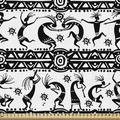 East Urban Home fab_52483_Ambesonne African Fabric By The Yard, Dancing Oriental Ornate Design Elements Folkloric Vintage Design in White | Wayfair