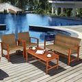 Three Posts™ Fairwinds 4 Piece Rattan Sofa Seating Group Wood/Natural Hardwoods/Wicker/Rattan in Brown/Green/White | Wayfair
