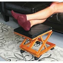 Ottoman Footrest Stool Foot Rest Elevated Rolling with Wheels Adjustable Black Office Supplies Foot Stool Foot Rest Home Office Ottoman Foot Rest Foot Rest for Under Desk at Work Office Accessories