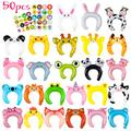 MALLMALL6 50p Zoo Animal Inflatable Headbands Wildlife Balloon Hair Hoop Include Forest Safari Farm Animals Jungle Theme Birthday Party Supplies with Animal Stickers Party Favors Costumes for Kids