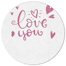 DaringOne Love You Area Rug Round Diameter 3.3ft, Washable Floor Rugs with Non Slip Bottom, Decorative Circle Carpets for Nursery, Office, Playroom, Dorm, Artistic Words