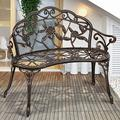 """Garden Bench Patio Bench Outdoor Bench Park Bench, Metal Bench with Armrests Cast Iron Metal Park Bench Sturdy Steel Frame Furniture Chair,for Yard Porch Entryway 39.7"""" Lawn Decor Deck Steel Bench"""