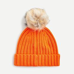 J. Crew Accessories   New J. Crew Ribbed Beanie With Faux-Fur Pom-Pom   Color: Orange/Red   Size: Os