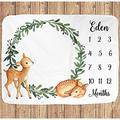 Personalized Blanket-Deer Milestone Blanket, Deer Month Blanket, Milestone Blanket, Deer Nursery, Deer Baby Blanket, Month Blanket Unisex, Gender Neutral, Unisex-Personalized Gifts