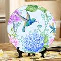 JGYJF Pattern Flowers Butterflies Little Bird Hummingbird Decorative Wall Plate Fancy Plates Ceramic Home Wobble-Plate with Display Stand Decoration Household Decorate Plate