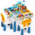 Kids Activity Table and Chair Set Multiple Toddler Activity Table with 2 Chairs and 152Pcs Building Blocks, Water Table, Sand Table, Learn Desk, Building Blocks Table for Toddler 3 4 5 6-10 Year Old