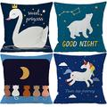 Kids Cartoon Zoom Decorative Throw Pillow Covers Cute Colorful Animal Home Decor Outdoor Cushion Cases for Children Room Sofa Couch 16X16 Set of 4