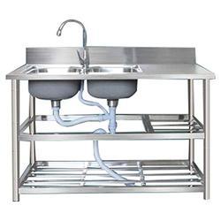 WHJ@ Sink Unit Stainless Steel, Smooth,Kitchen Stainless Steel Sink with Platform Storage Bracket Simple Sink Sink Integrated Basin Sink Double Sink