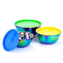 Mixing Bowls, Stainless Steel Mixing Bowls Set of 3 with Lids for Kitchen, Nesting Metal Bowls for Baking Cooking Serving Prepping Food Storage, Salad Bowls ( Colorful Lids)