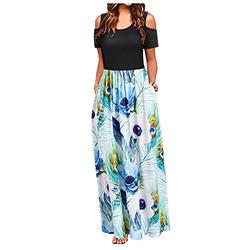 FRSH MNT Maxi Dresses for Women,Ladies Casual Loose Short Sleeve Long Dress Short Sleeve Summer Dresses for Women with Pockets(White,L)