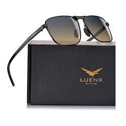 LUENX Men Rectangular Polarized Sunglasses Square Retro Shades - Black Frame Gradient Amber Lens 60mm