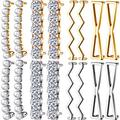 16 Pieces Shoelaces Clips Include 4 Pairs Gold and 4 Pairs Silver DIY Decorative Shoe Clips Charm Faux Pearl Rhinestones Shoes Accessory for Sneakers Casual Shoes Girl Women