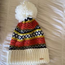 Free People Accessories | Free People Pom Hat | Color: Orange/White | Size: Os