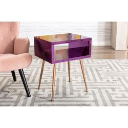 Everly Quinn MIRROR END TABLE MIRROR NIGHTSTAND END&SIDE TABLEWood/Stainless Steel in Brown/Gray/Yellow, Size 23.2 H x 17.9 W x 15.1 D in   Wayfair