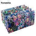 Teramila – tissu imprimé à fleurs bleues, 100% coton sergé, pour couture, Patchwork, couture,