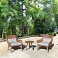 American Eco Living Wicker/Rattan 2 - Person Seating Group w/ CushionsWood/Natural Hardwoods/Wicker/Rattan in Brown/White | Wayfair HU-014