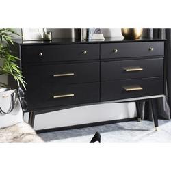 Safavieh Couture Lyla 6 Drawer Double Dresser Wood in Black, Size 36.0 H x 56.0 W x 18.0 D in | Wayfair SFV2100B