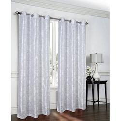 House of Hampton® Hackley Lakeside Metallic Geometric Semi-Sheer Grommet Curtain PanelsPolyester in White, Size 84.0 H in | Wayfair