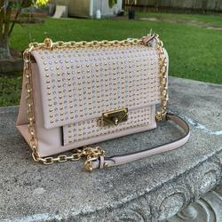 Michael Kors Bags | Micheal Kors Studded Leather Chain Shoulder Bag | Color: Gold | Size: Os