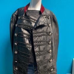 Free People Jackets & Coats   Free People Faux Leather Jacket W Velvet Trim   Color: Black   Size: L