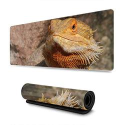 Bearded Dragon Large Mouse Pad Gaming Huge Computer Pc Long Extended Mousepad with Non-Slip Rubber Base and Stitched Edges Keyboard Mice Pads Desk Mat for Gamer Office Home