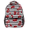 Sexy Red Lips and Black and White Stripes Laptop Backpack for Men School Bookbag Travel Rucksack Daypack School Bag for Women Girls