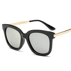 Sun glasses sunglasses female tide color film round face sunshade-Bright black frame white water silver