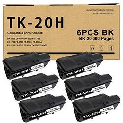 6 Pack Compatible TK-20H TK20H (370PV011) Toner Cartridge Replacement for Kyocera DP-1400 DP-1800 DP-2000 FS-1750 FS-3700 FS-3700A FS-3750 FS-6700 FS-6900 Printer Ink Cartridge.