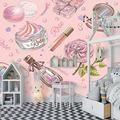 Wallpaper Mural Pink Floral Makeup Mural Peel & Stick Wall Decal Wall Art Child Gift for Kid Room Nursery Bedroom Wall Home Decor Poster Mural Wallpaper-200X140cm