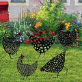 5 Pcs Cute Chicken Garden Stakes Decoration, Hen Rooster Cock Stakes Yard Garden Art Decoration,Hollow Livestock Sign Decoration for Lawns Gardens Backyards Yard