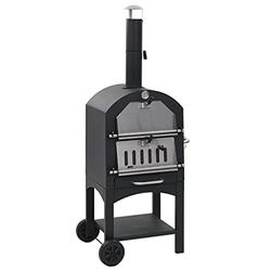 vidaXL Charcoal Fired Outdoor Pizza Oven with Fireclay Stone Wheels Removable Fire Tray Pizza Smoker Garden Picnic Charcoal-Fired Cooker