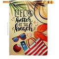 Angeleno Heritage Beach Life is Better House Flag Coastal Tropical Sea Shells Ocean Sand Outdoor Summer Coral Small Decorative Gift Yard Banner Double-Sided Made in USA 28 X 40