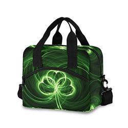 St.Patrick's Day Shamrock Irish Lucky Clover Green Leaves Leakproof Insulated Lunch Bag, Cooler Lunchbox Bag Reusable Tote, Crossbody Lunch Box with Adjustable Shoulder Strap for Travel Work