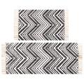 Lawei Set of 2 Size Cotton Area Rugs - 2' x 3' + 2' x 4.2' Black and Cream Hand Woven Cotton Rug with Tassels Machine Washable Fringe Cotton Throw Rug Runner for Living Room, Bedroom, Doorway Laundry