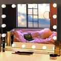 DIDIDADA Hollywood Makeup Mirror with Lights 18 LED Bulbs Large Vanity Lighted Makeup Mirrors for Dressing Room Makeup Table LED Vanity Makeup Mirror Magnification USB 3 Color Tabletop Makeup Mirror