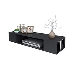 GSQA Wall-Mounted Floating TV Stand TV Cabinet Nordic Minimalist Creative Furniture Set-top Box Rack Particle Board Storage Box Perfect for Living Room Playroom Black,Maximum Load: 66 lbs