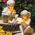 Garden Sculptures & Statues Outdoor Garden Statues Solar Lighted Firefly Jar Garden Children Boy Girl Statue Utdoor Sculpture Decor (Boy and Girl)