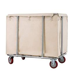 LY Laundry Cart Commercial, Heavy Duty Linen Cart On Wheels, Commercial Hospital Dirty Rolling Laundry Cart, Rectangle Collecting Cart for Hotel, 400L Capacity (Color : Beige)
