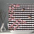 AMNYSF Cherry Blossoms Decor Shower Curtain Black White Striped Pink Spring Floral Hummingbird Fabric Bathroom Curtains, 70x70 Inches Polyester with Hooks