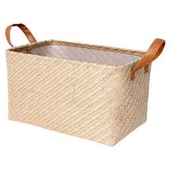 WINOMO Woven Basket Seagrass Wicker Rattan Storage Basket Container Picnic Basket Foldable Laundry Basket Seagrass Planter Box