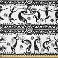 East Urban Home Ambesonne African Fabric By The Yard, Dancing Oriental Ornate Design Elements Folkloric Vintage Design in White | Wayfair