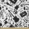 East Urban Home Ambesonne Music Fabric By The Yard, Blues Jazz Punk Rock Various Type Of Folk Indie Rap Reggae Peace Sign Sing Art   Wayfair in White