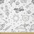 East Urban Home Ambesonne Cartoon Fabric By The Yard, Doodle Solar System Astronauts Space Crafts Shooting Stars Science Fiction Theme in White