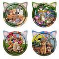 Trinx Set Of 4 Cat Shaped-Cats In The Garden Coasters Ceramic, Size 0.25 H x 0.25 D in | Wayfair DB578B2CEDD843B88EAAEE119E2E5559