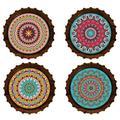 Bungalow Rose Set Of 4 Mandala Coasters Ceramic, Size 0.25 H x 0.25 D in | Wayfair 735DC0D250214AC3844E7584D70BE390