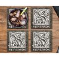 "Le Prise™ Personalized Coaster Set Of 4 - 4""Stone Monogram Coasters, Terrazzo StyleStone Customized Coaster Set For Wedding Present in Black Wayfair"