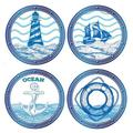 Longshore Tides Set Of 4 Nautical Themed Coasters Ceramic in Blue/White, Size 0.25 H x 0.25 D in | Wayfair 5BB42A60957F4647BC1236081F1DDCC7