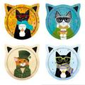 Zoomie Kids Set Of 4 Cat Shaped w/ Cats In Suits Coasters Ceramic, Size 0.25 H x 0.25 D in | Wayfair 82679EE3CBA641B3924CB577C63006A4