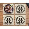 "Le Prise™ Personalized Coaster Set Of 4 - 4""Stone Monogram Coasters, Terrazzo StyleStone Customized Coaster Set For Wedding Present in White Wayfair"