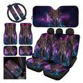 Forchrinse Hippie Tribal Elephant Galaxy Car Seat Cover with Floor Mats/Steering Wheel Cover/Seat Belt Shoulder Pads/Center Console Cover + Car Front Window Sunshade 13pcs